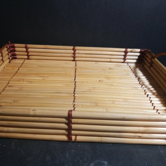 "Other - Bamboo Wicker Serving Tray With Handles 17"" X 13"""